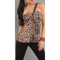 ELEGANT ONE-SHOULDER TOP WITH RHINESTONES LEO-BROWN UK 8/10 (S/M)