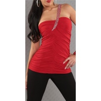 ELEGANT ONE-SHOULDER TOP WITH RHINESTONES RED UK 8/10 (S/M)