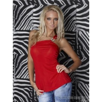 SEXY ONE-SHOULDER TOP WITH GLAM-BUCKLE RHINESTONES RED