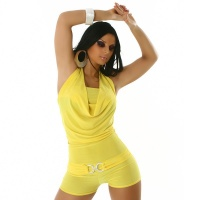 SEXY SHORT OVERALL JUMPSUIT CLUBBING YELLOW