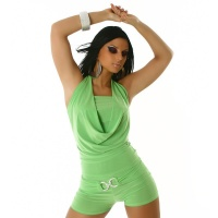 SEXY SHORT OVERALL JUMPSUIT CLUBBING GREEN Onesize (UK 8,10,12)