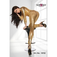 SEXY OVERALL JUMPSUIT METALLIC-LOOK GOGO CLUBWEAR GOLD Onesize (UK 8,10,12)