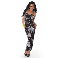 SEXY OVERALL JUMPSUIT WITH FLOWERS CLUBBING BLACK/GREY Onesize (UK 8,10,12)
