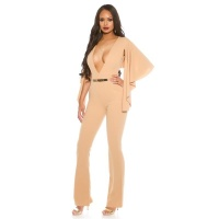 SEXY OVERALL JUMPSUIT WITH XXL V-CUT CLEAVAGE AND CAPE BEIGE