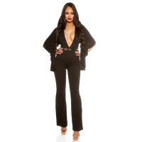 SEXY OVERALL JUMPSUIT WITH XXL V-CUT CLEAVAGE AND CAPE BLACK