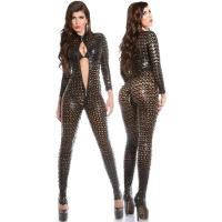 SEXY OVERALL JUMPSUIT WITH ZIPPER WET LOOK GOGO CLUBWEAR BLACK