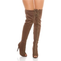 SEXY LACE UP OVERKNEE BOOTS IN SUEDE LOOK BROWN