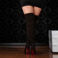 SEXY OVERKNEE BOOTS WITH DECORATION-BUTTONS VELVET BROWN UK 4