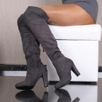 SEXY VELOUR OVERKNEES LADIES BOOTS WITH LACING GREY