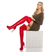 SEXY OVERKNEES LADIES BOOTS MADE OF ARTIFICIAL LEATHER RED