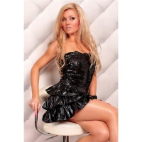 SEXY PAILLETTEN-KLEID PARTY WETLOOK SCHWARZ