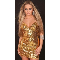 SEXY SEQUINED MINIDRESS WITH CHAIN STRAPS GOLD