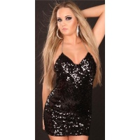 SEXY SEQUINED MINIDRESS WITH CHAIN STRAPS BLACK