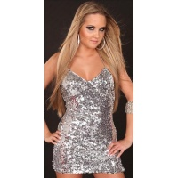 SEXY SEQUINED MINIDRESS WITH CHAIN STRAPS SILVER