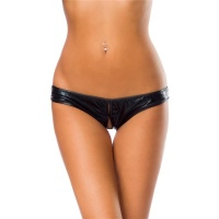 SEXY CROTCHLESS PANTY HOTPANTS IN WET LOOK CLUBWEAR GOGO BLACK Onesize (UK 8,10,12)