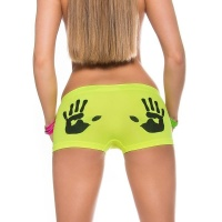 SEXY PANTY WITH HANDPRINT MOTIVE LINGERIE NEON-YELLOW/BLACK UK 8/10 (S/M)