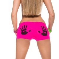 SEXY PANTY WITH HANDPRINT MOTIVE LINGERIE NEON-FUCHSIA/BLACK UK 8/10 (S/M)