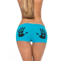 SEXY PANTY WITH HANDPRINT MOTIVE LINGERIE TURQUOISE/BLACK