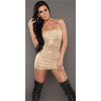 SEXY PARTY BANDEAU MINIDRESS MADE OF LACE BEIGE