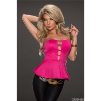 SEXY PARTY BANDEAU TOP WITH PEPLUM FUCHSIA Onesize (UK 8,10,12)