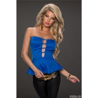 SEXY PARTY BANDEAU TOP WITH PEPLUM ROYAL BLUE