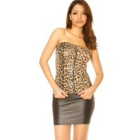 SEXY PARTY BANDEAU-TOP MIT ZIPPPER LEOPARD-LOOK BRAUN