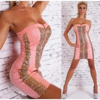 SEXY BANDEAU MINIDRESS PARTY LEATHER-LOOK SEQUINS CORAL/GOLD Onesize (UK 8,10,12)