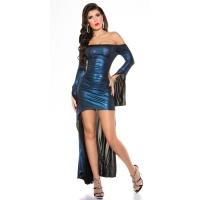 SEXY PARTY COCKTAIL DRESS WITH GLITTER EFFECT CLUBWEAR DARK BLUE Onesize (UK 10,12,14)