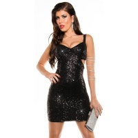 SEXY PARTY DRESS EVENING DRESS WITH SEQUINS CLUBWEAR BLACK Onesize (UK 8,10,12)