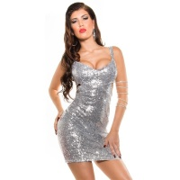 SEXY PARTY DRESS EVENING DRESS WITH SEQUINS CLUBWEAR SILVER/WHITE