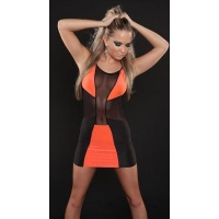 SEXY PARTY MINIDRESS WITH CHIFFON GOGO CLUBWEAR BLACK/ORANGE