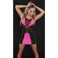 SEXY PARTY MINIDRESS WITH CHIFFON GOGO CLUBWEAR BLACK/FUCHSIA