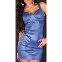 SEXY PARTY MINIKLEID MIT SPITZE WETLOOK BLAU