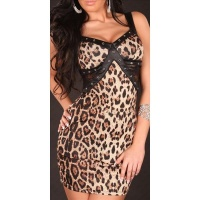 SEXY PARTY MINIDRESS WITH LACE WET LOOK BROWN/BLACK