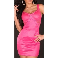 SEXY PARTY MINIDRESS WITH LACE WET LOOK FUCHSIA
