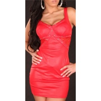 SEXY PARTY MINIDRESS WITH LACE WET LOOK RED
