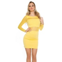 SEXY PARTY MINIDRESS WITH TRANSPARENT CHIFFON SLEEVES YELLOW