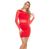 SEXY PARTY MINIDRESS WITH TRANSPARENT CHIFFON SLEEVES RED