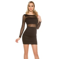 SEXY PARTY MINIDRESS WITH TRANSPARENT CHIFFON SLEEVES BLACK