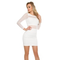SEXY PARTY MINIDRESS WITH TRANSPARENT CHIFFON SLEEVES WHITE