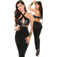 SEXY PARTY OVERALL JUMPSUIT WITH LEATHER-LOOK CLUBBING BLACK
