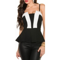 SEXY PARTY STRAPPY TOP WITH PEPLUM BLACK/WHITE Onesize (UK 8,10,12)