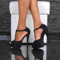 SEXY PEEP TOE SANDALS PLATFORM HIGH HEELS SHOES BLACK UK 6