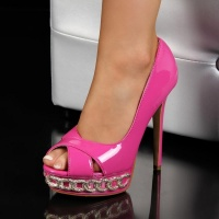 SEXY PEEP TOES HIGH HEELS PUMPS PLATFORMS FUCHSIA