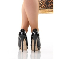 SEXY PEEP TOES HIGH HEELS PUMPS PLATFORMS BLACK