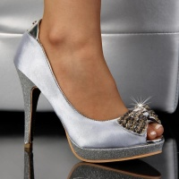 SEXY PEEP TOES HIGH HEELS PUMPS PLATFORMS SATIN SILVER UK 5