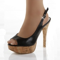 SEXY PEEP TOES PLATFORM HIGH HEELS SHOES WITH CORK BLACK UK 5