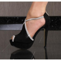SEXY PEEP TOES PLATFORM HIGH HEELS SHOES WITH RHINESTONES BLACK