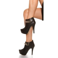 SEXY ANKLE BOOTS HIGH HEELS IMITATION LEATHER WITH CHAIN BLACK UK 4
