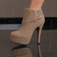 SEXY PLATFORM ANKLE BOOTS HIGH HEELS SHOES VELOUR WITH RIVETS KHAKI